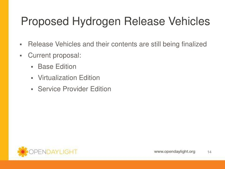 Proposed Hydrogen Release Vehicles