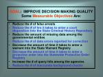 goal improve decision making quality some measurable objectives are