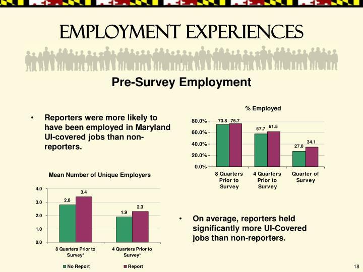 Employment experiences