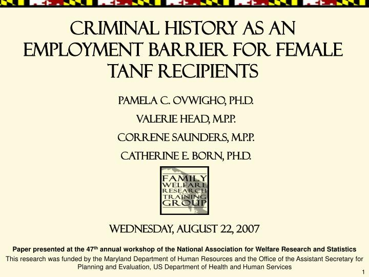 Criminal history as an employment barrier for female TANF recipients
