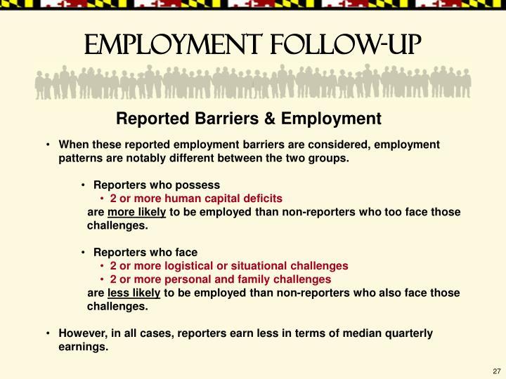 Employment follow-up