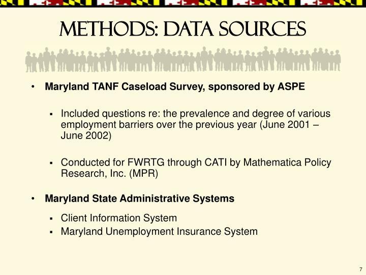 Methods: data sources