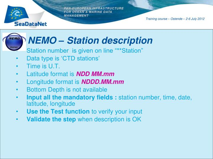 NEMO – Station description