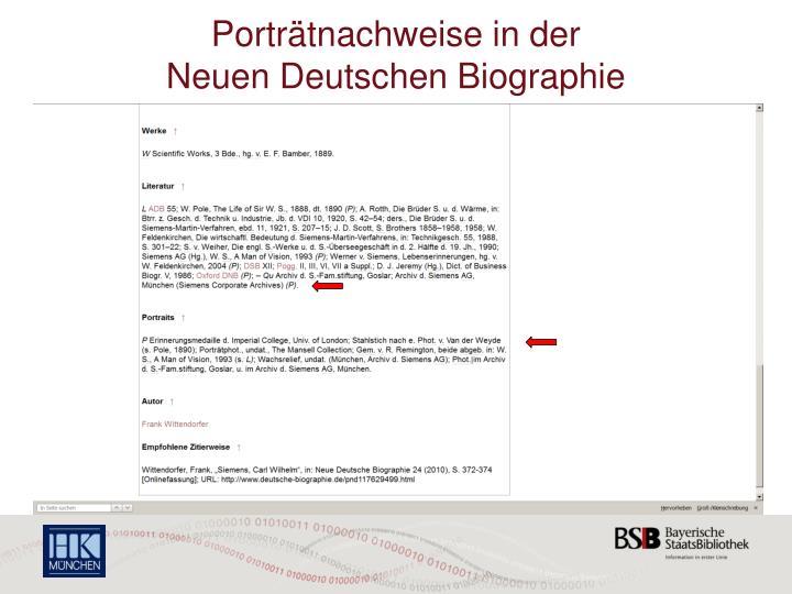 Portr tnachweise in der neuen deutschen biographie