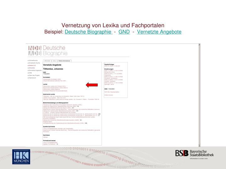 Vernetzung von Lexika und Fachportalen