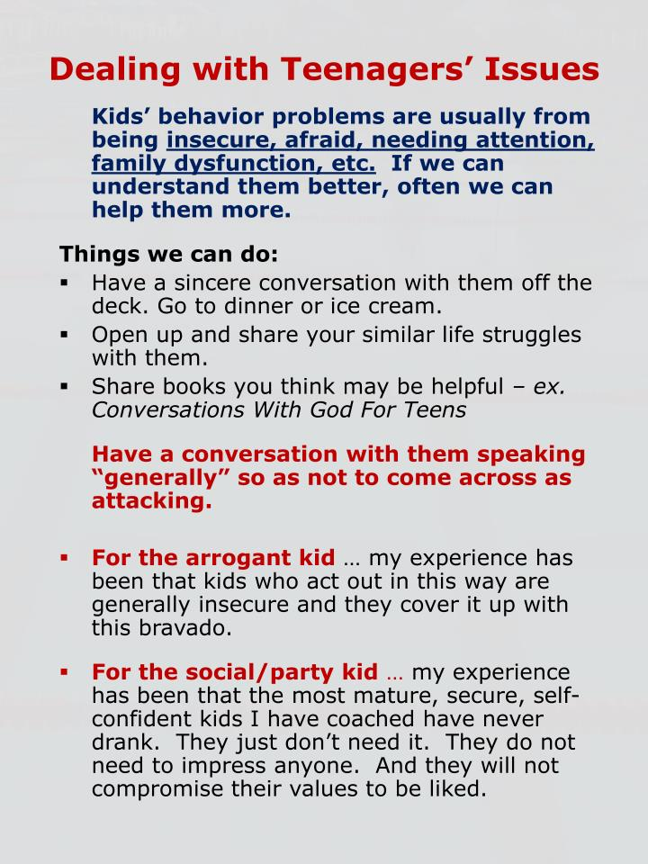 Dealing with Teenagers' Issues