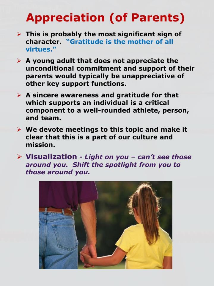Appreciation (of Parents)