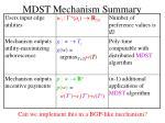 mdst mechanism summary
