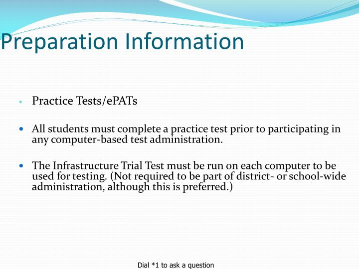 Preparation Information
