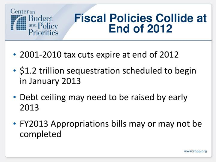 Fiscal Policies Collide at End of 2012