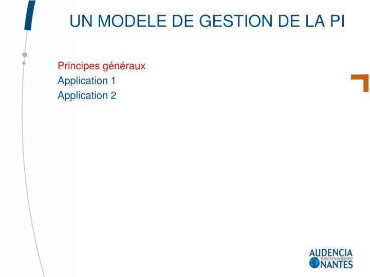 Un modele de gestion de la pi