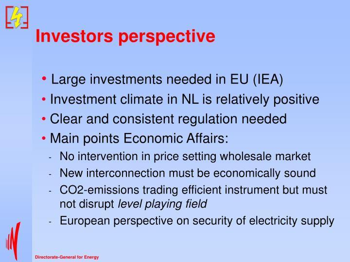 Investors perspective
