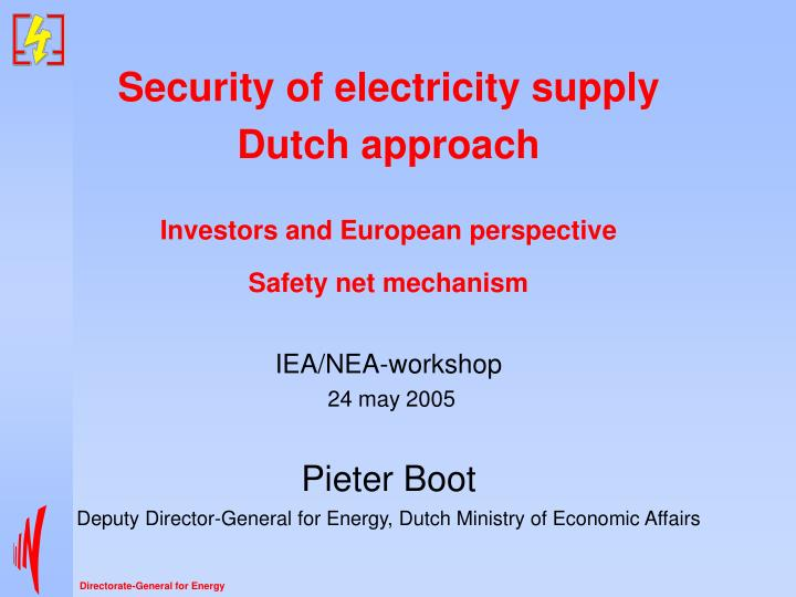 Security of electricity supply