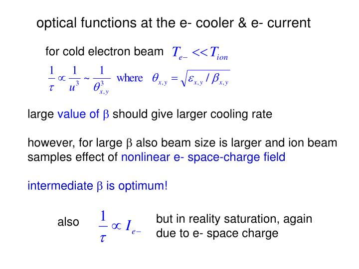optical functions at the e- cooler & e- current