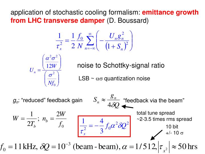 application of stochastic cooling formalism: