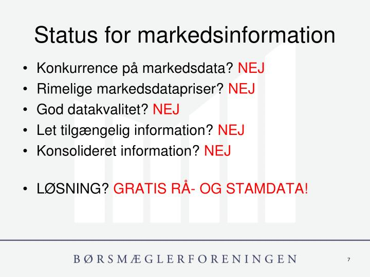 Status for markedsinformation