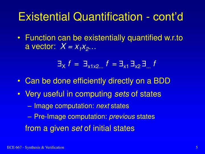Existential Quantification - cont'd