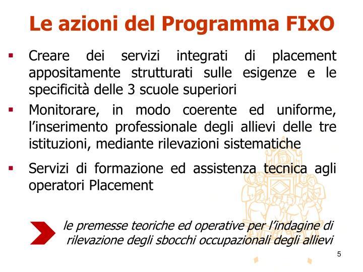 Le azioni del Programma FIxO