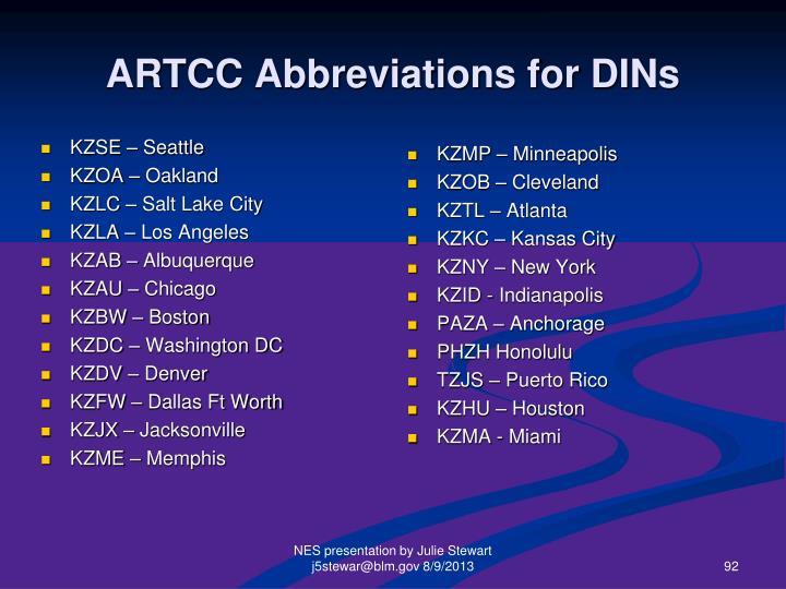 ARTCC Abbreviations for DINs