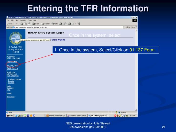 Entering the TFR Information