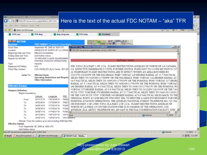 """Here is the text of the actual FDC NOTAM – """"aka"""" TFR"""
