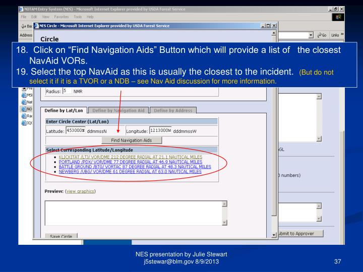 """18.  Click on """"Find Navigation Aids"""" Button which will provide a list of   the closest NavAid VORs."""