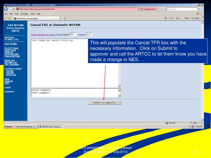 This will populate the Cancel TFR box with the