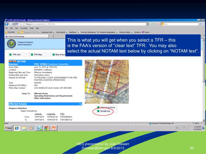 This is what you will get when you select a TFR – this