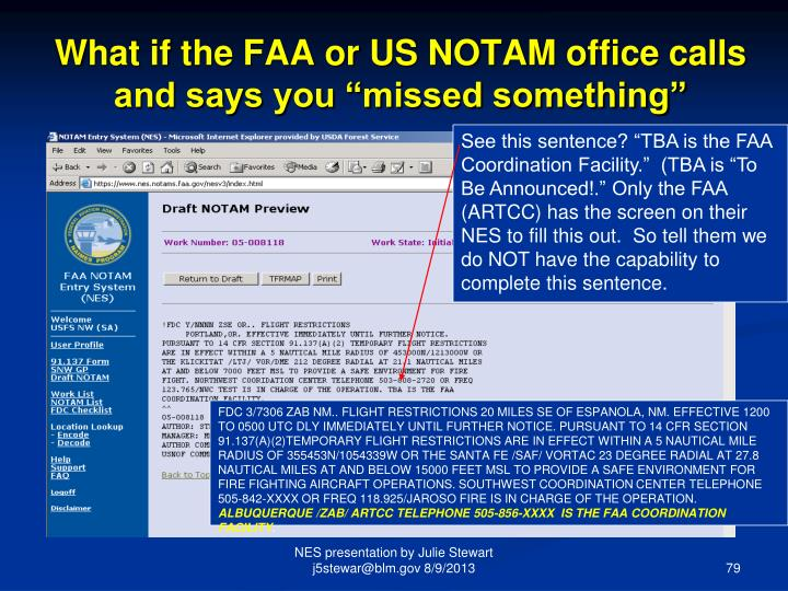 """What if the FAA or US NOTAM office calls and says you """"missed something"""""""