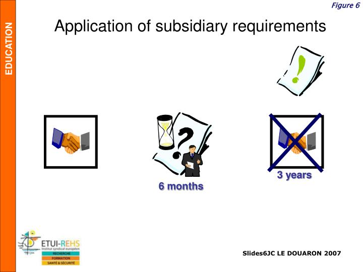 Application of subsidiary requirements