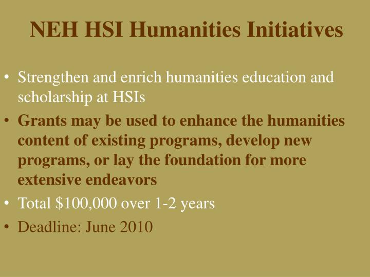 NEH HSI Humanities Initiatives