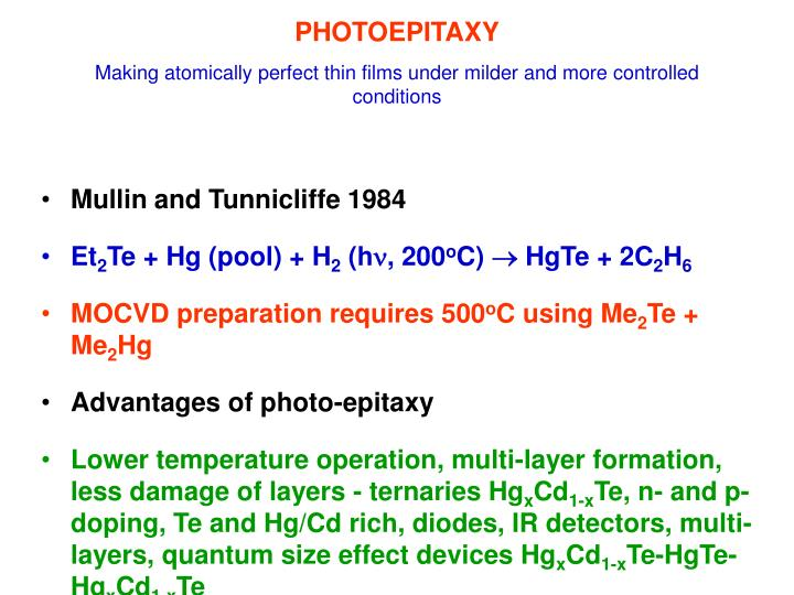 Photoepitaxy making atomically perfect thin films under milder and more controlled conditions