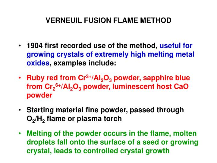 VERNEUIL FUSION FLAME METHOD