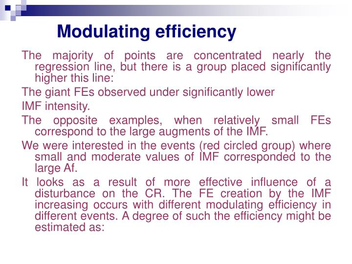 Modulating efficiency