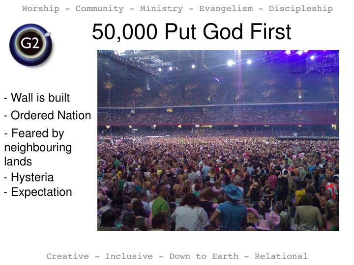 50 000 put god first
