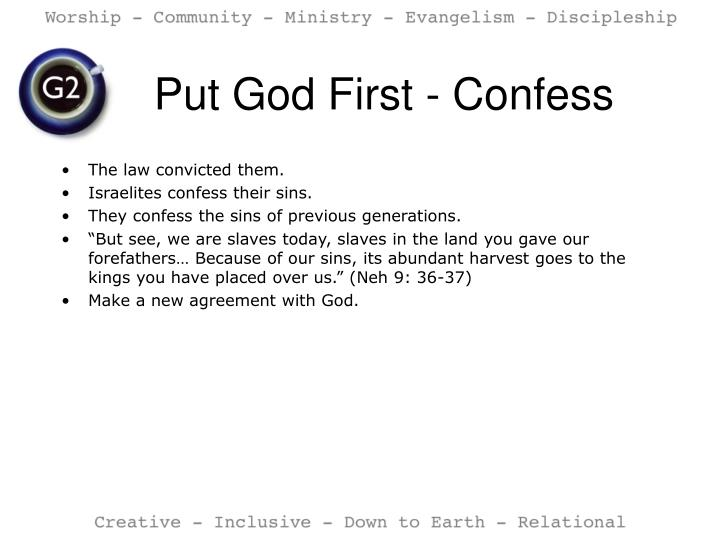 Put God First - Confess