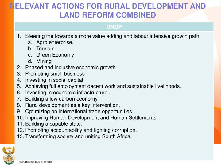 RELEVANT ACTIONS FOR RURAL DEVELOPMENT AND LAND REFORM COMBINED