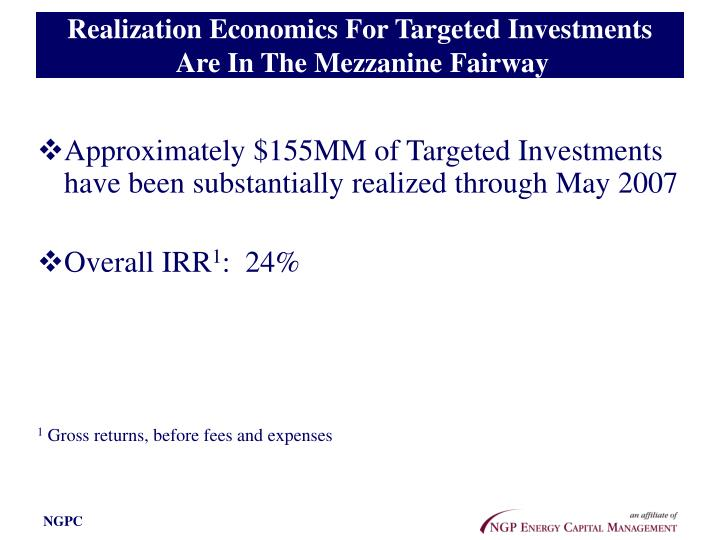 Realization Economics For Targeted Investments