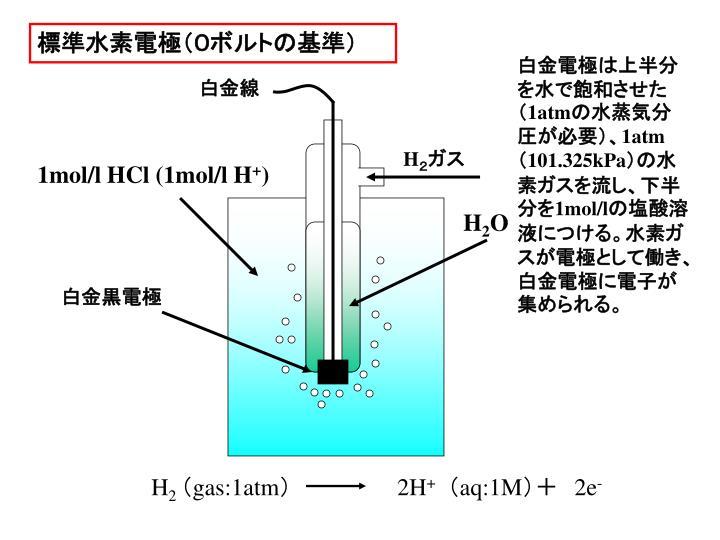 標準水素電極(0ボルトの基準)