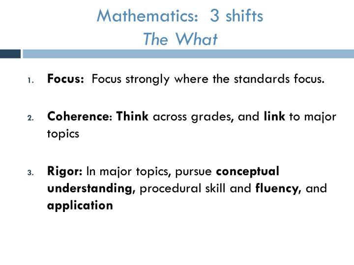 Mathematics:  3 shifts