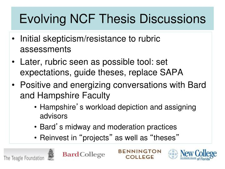 Evolving NCF Thesis Discussions
