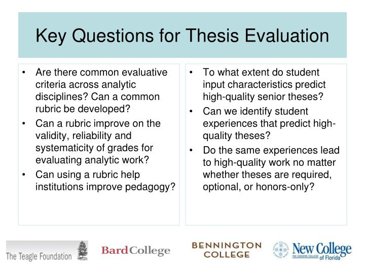 Key questions for thesis evaluation