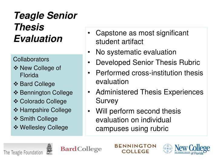 Teagle senior thesis evaluation