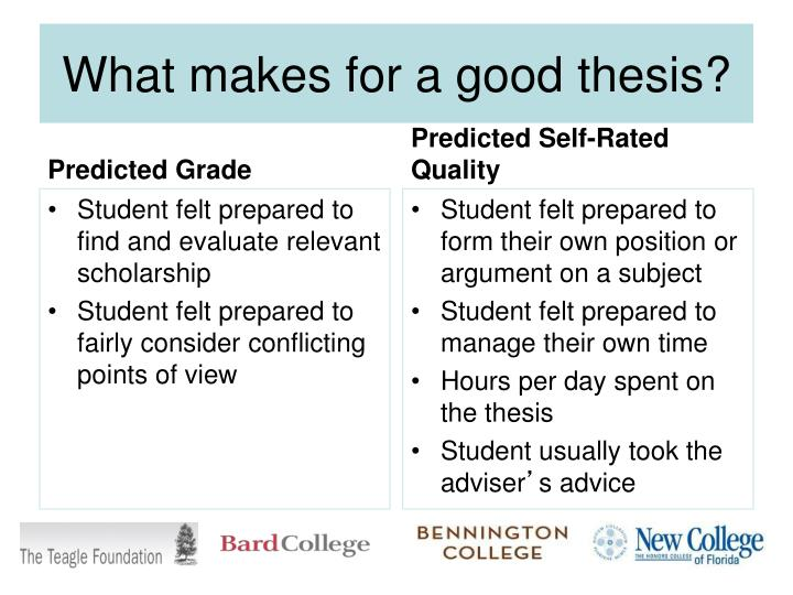 What makes for a good thesis?