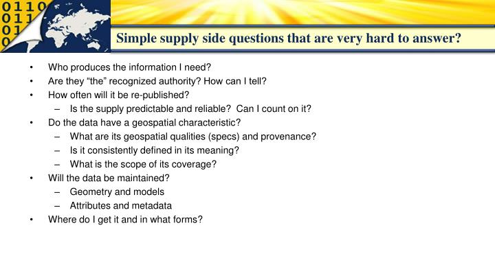 Simple supply side questions that are very hard to answer?
