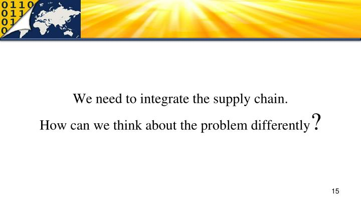 We need to integrate the supply chain.