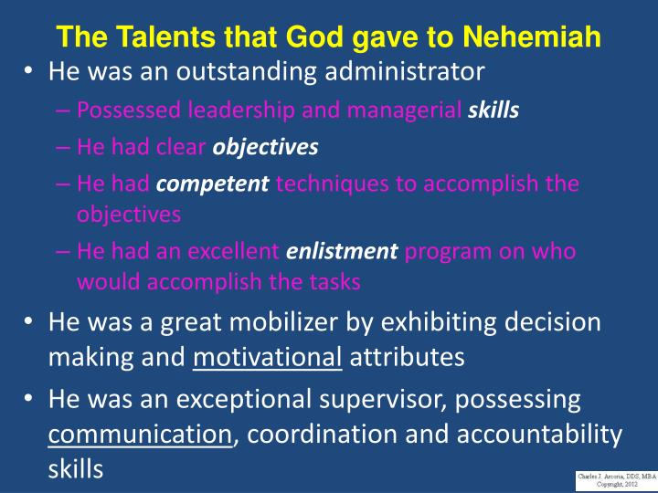 The Talents that God gave to Nehemiah