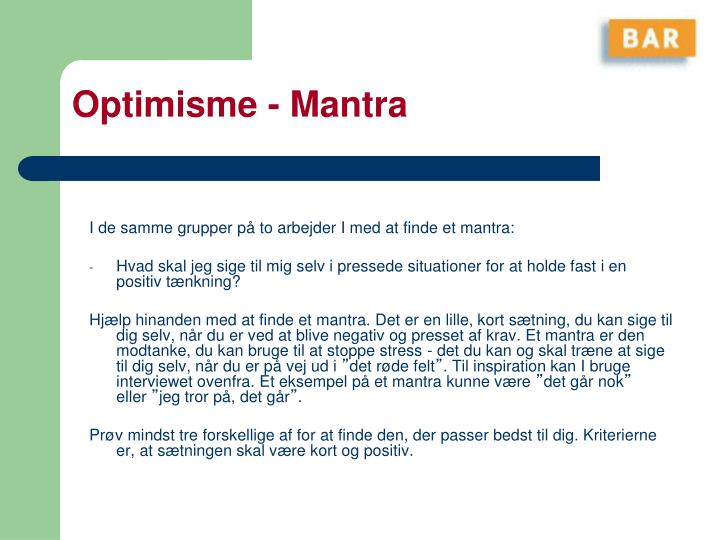Optimisme - Mantra