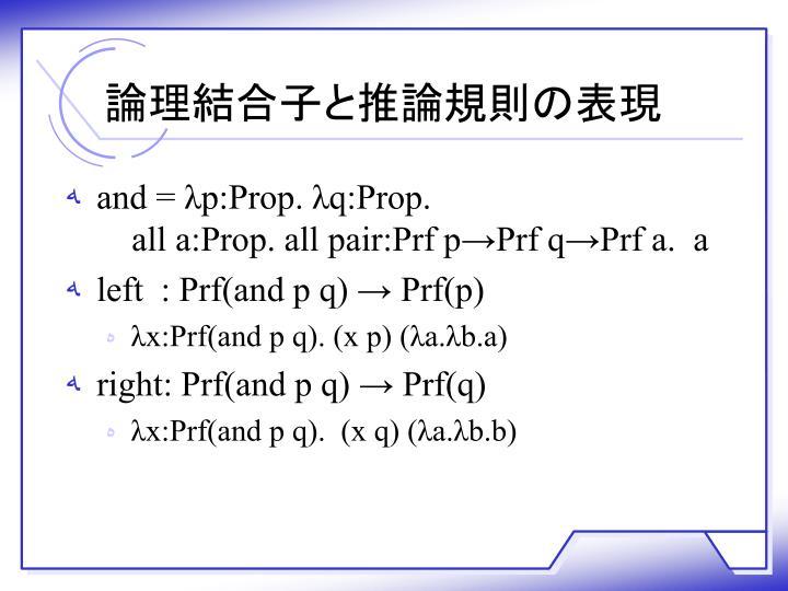 論理結合子と推論規則の表現