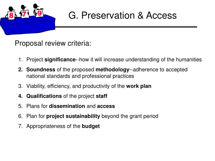 G. Preservation & Access